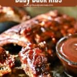 Pinterest pin for baby back ribs.