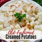 Pinterest pin for Creamed Potatoes Recipe.