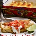 Pinterest pin for chicken enchiladas.