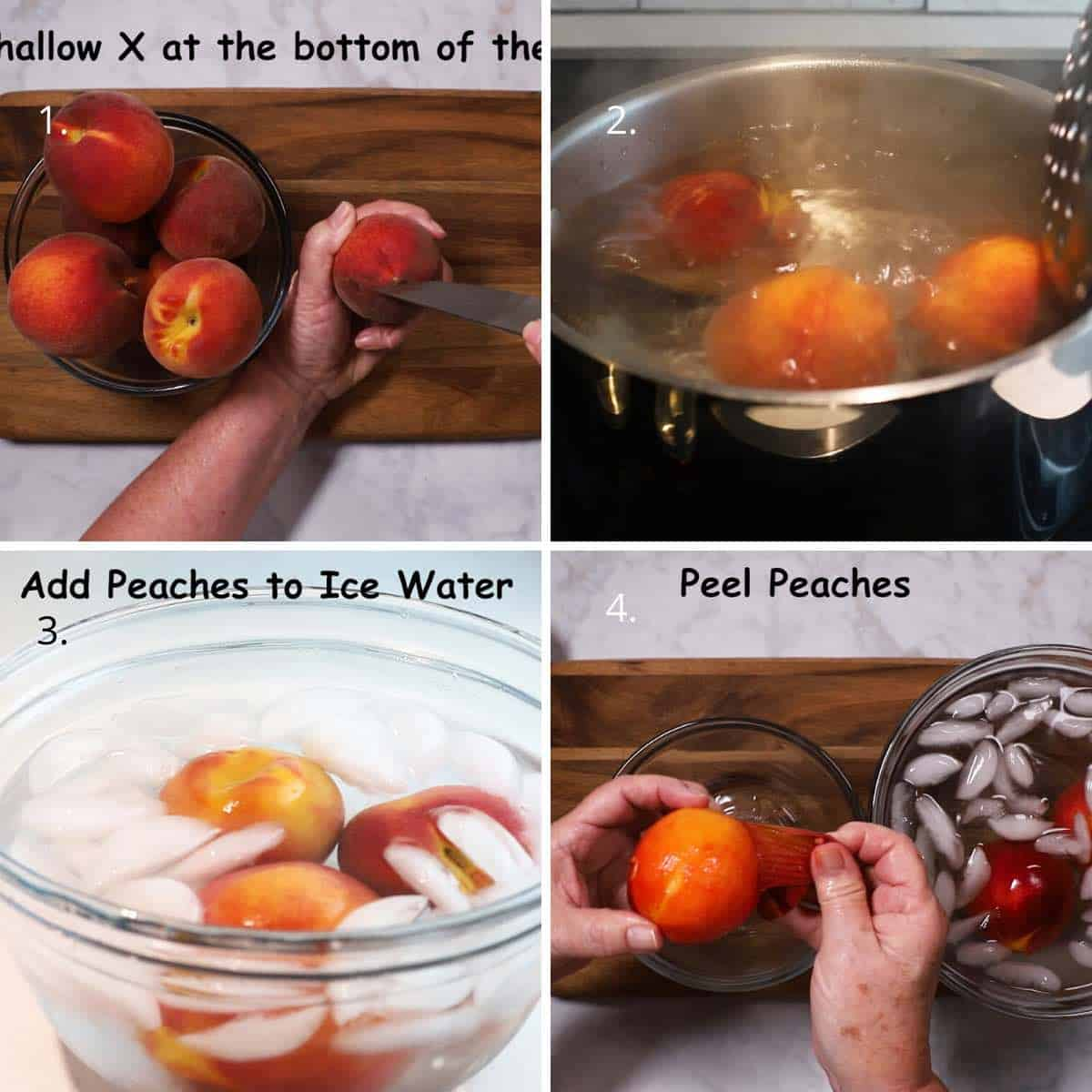 A collage of four pictures detailing the process to blanch peaches.