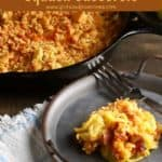 Pinterest pin, squash casserole in a cast-iron skillet.