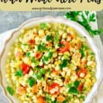 Pinterest pin showing a bowl of succotash.