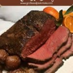 Pinterest pin, New York Strip Roast on a white plate.