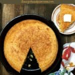 Pinterest pin a cast iron skillet with cornbread.