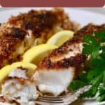 Pinterest pin, cooked fish fillets on a plate.