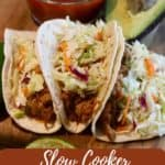 Pinterest pin showing three pulled pork tacos.