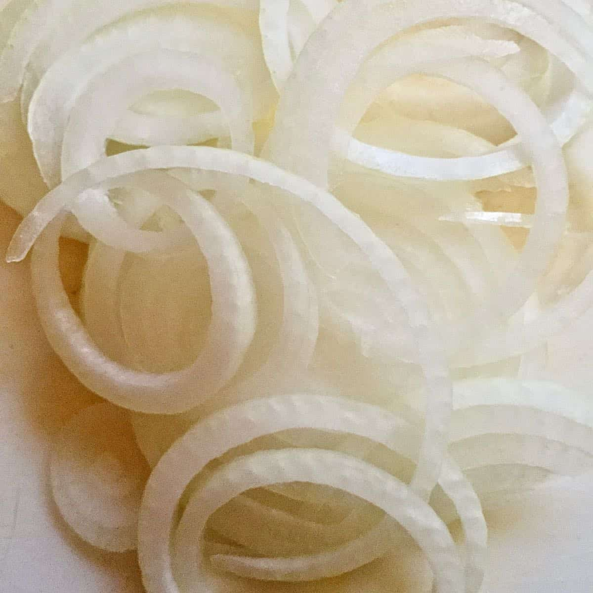 Sliced onion rings.