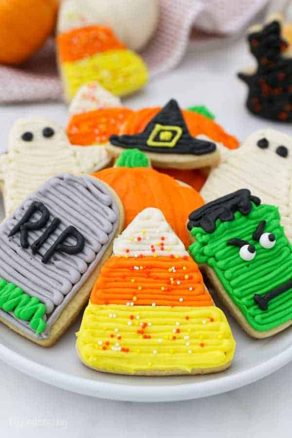 Assorted halloween decorated sugar cookies.