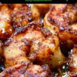 Pinterest pin showing a closeup of blackened shrimp.