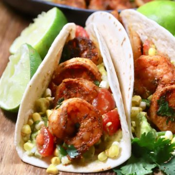 A flour tortilla filled with blackened shrimp.