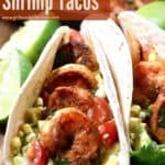 Pinterest pin, blackened shrimp tacos.
