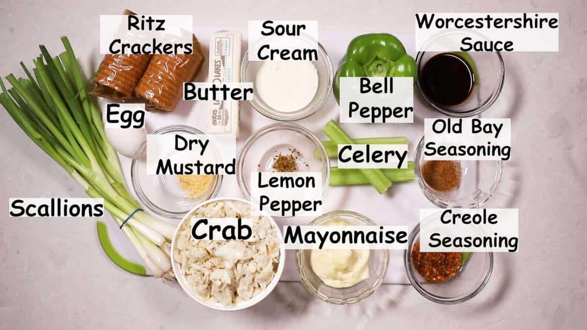 Deviled crab ingredients.