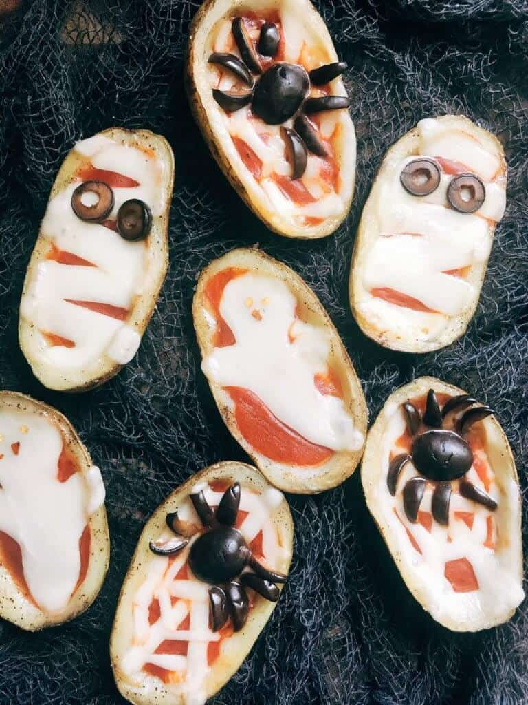 Halloween pizza potato skins.