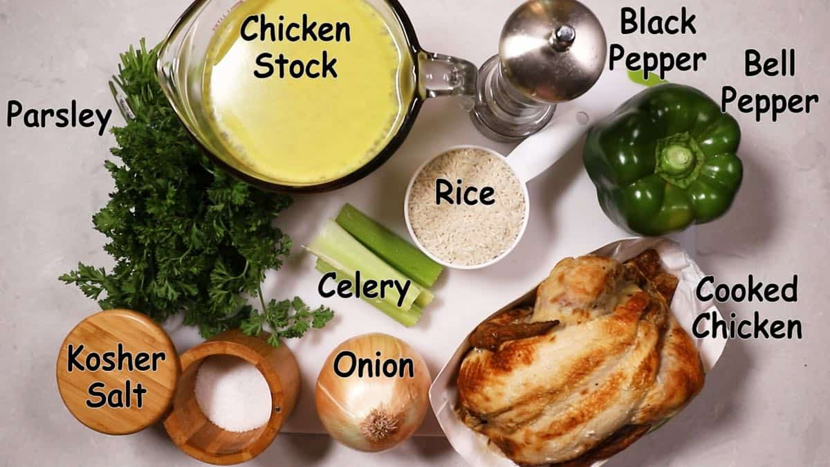 Ingredients including chicken and rice for Chicken Pilau.
