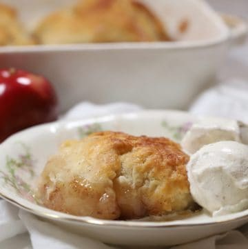 An apple dumpling in a bowl with a scoop of ice cream.