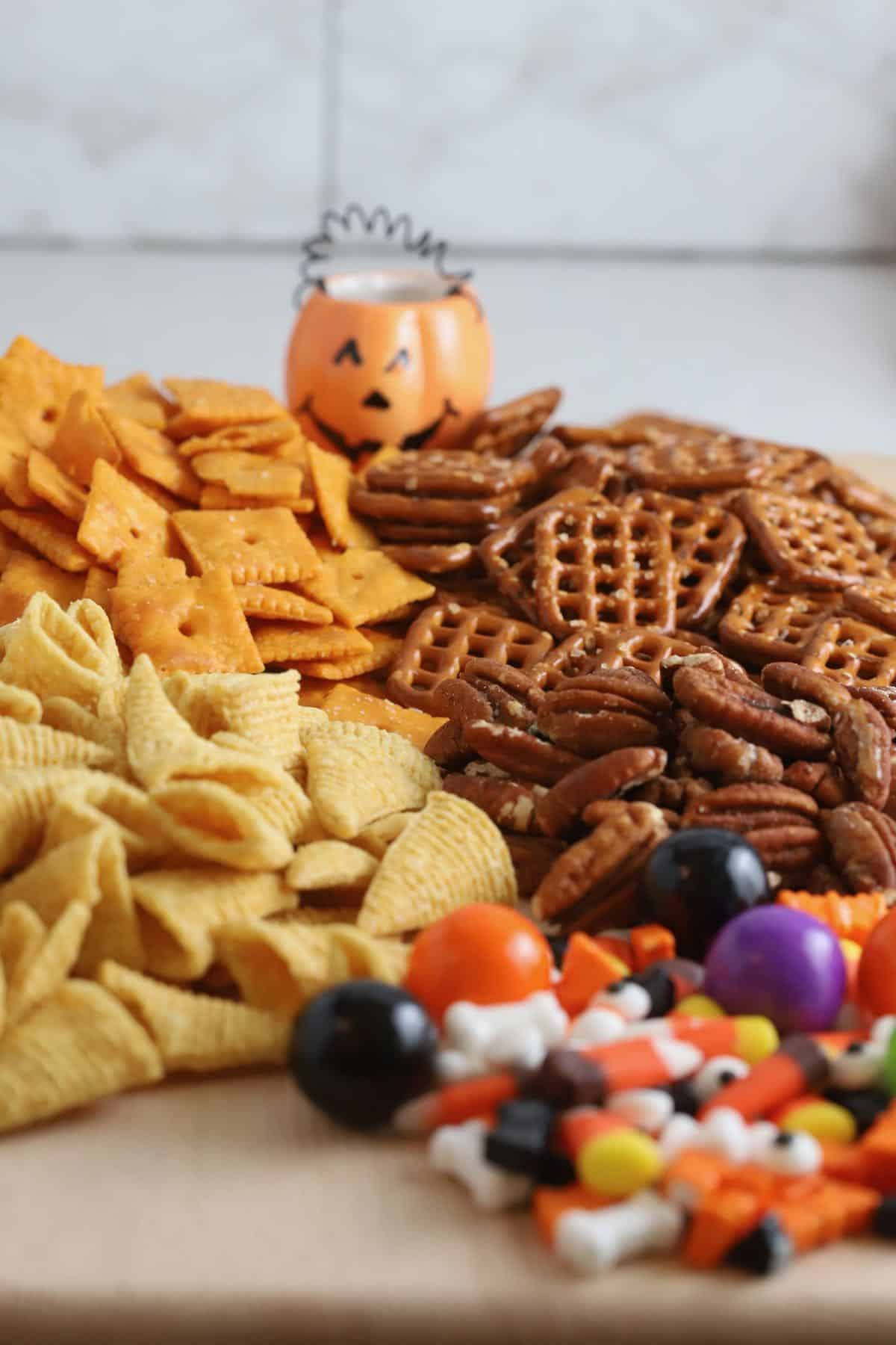 Bugles, pretzels, Cheez-its and Halloween candy.