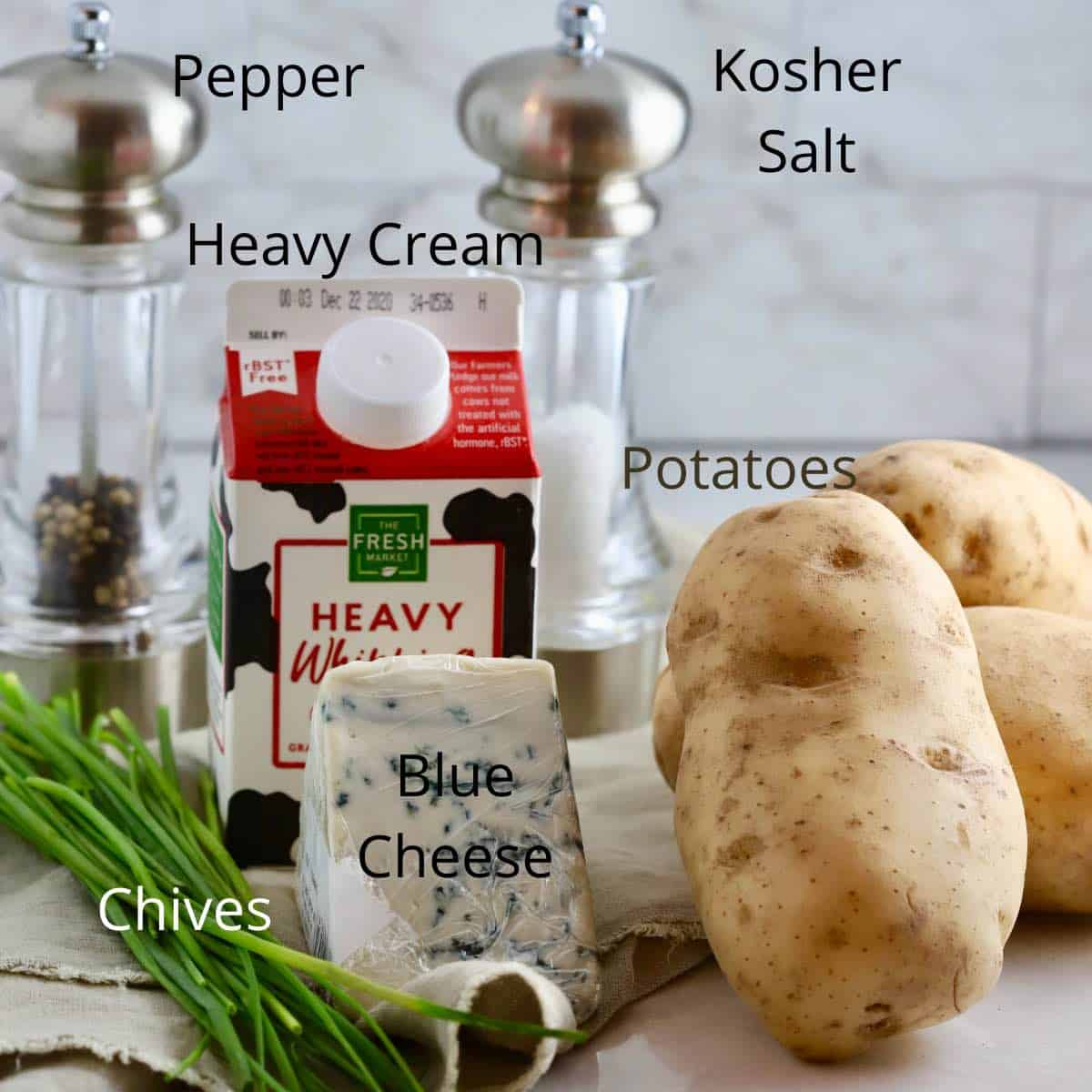 Ingredients for Potatoes Au Gratin with Blue Cheese.