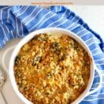 Pinterest pin showing a broccoli cheese casserole on a blue and white towel.