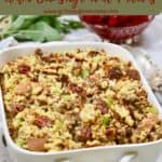 Cornbread dressing in a white serving dish - Pinterest pin.