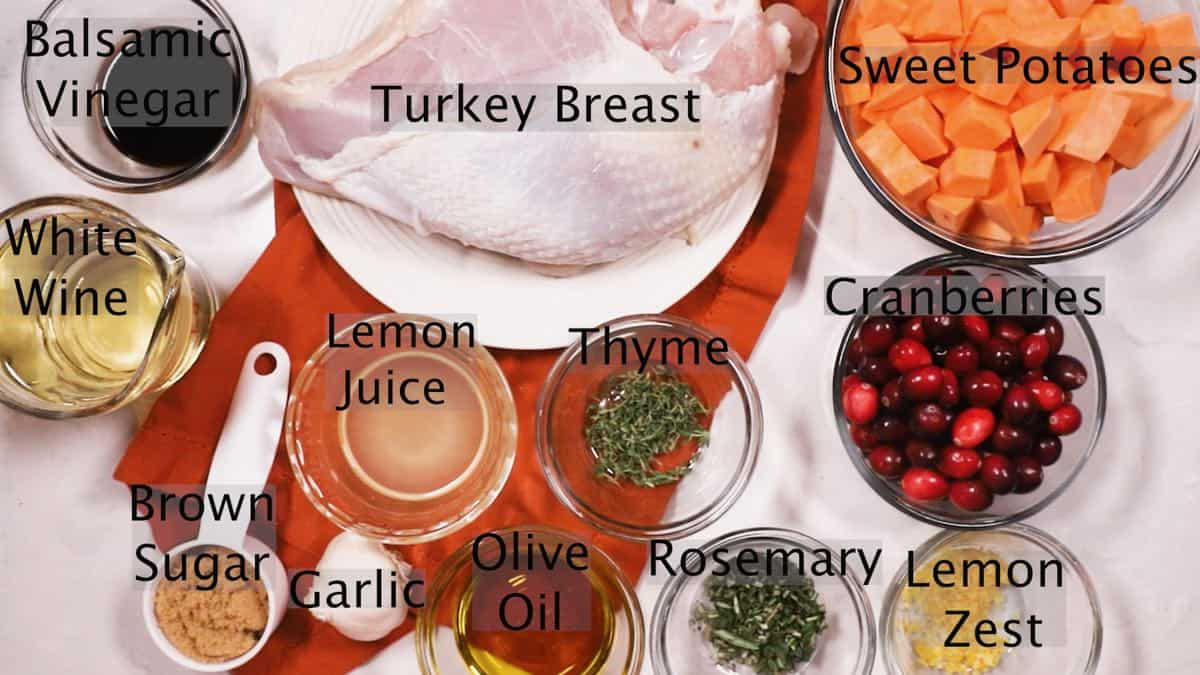 Recipe ingredients including turkey breast, sweet potatoes, and cranberries.