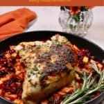 Pinterest pin showing a skillet with roasted turkey breast.