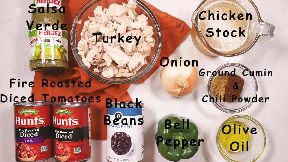 Ingredients for Turkey Chili including turkey and a can of black beans.