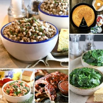A collage of black-eyed pea dishes, collards and cornbread.