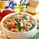 Pinterest pin showing a bowl of black-eyed pea soup.