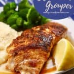 Pinterest pin showing blackened grouper on a plate.