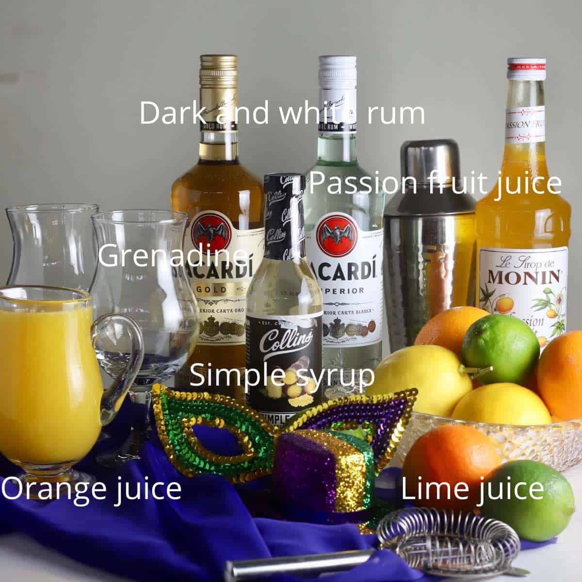 Rum and fruit juices to make hurricane drinks.