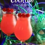 Pinterest pin showing two hurricane cocktails.