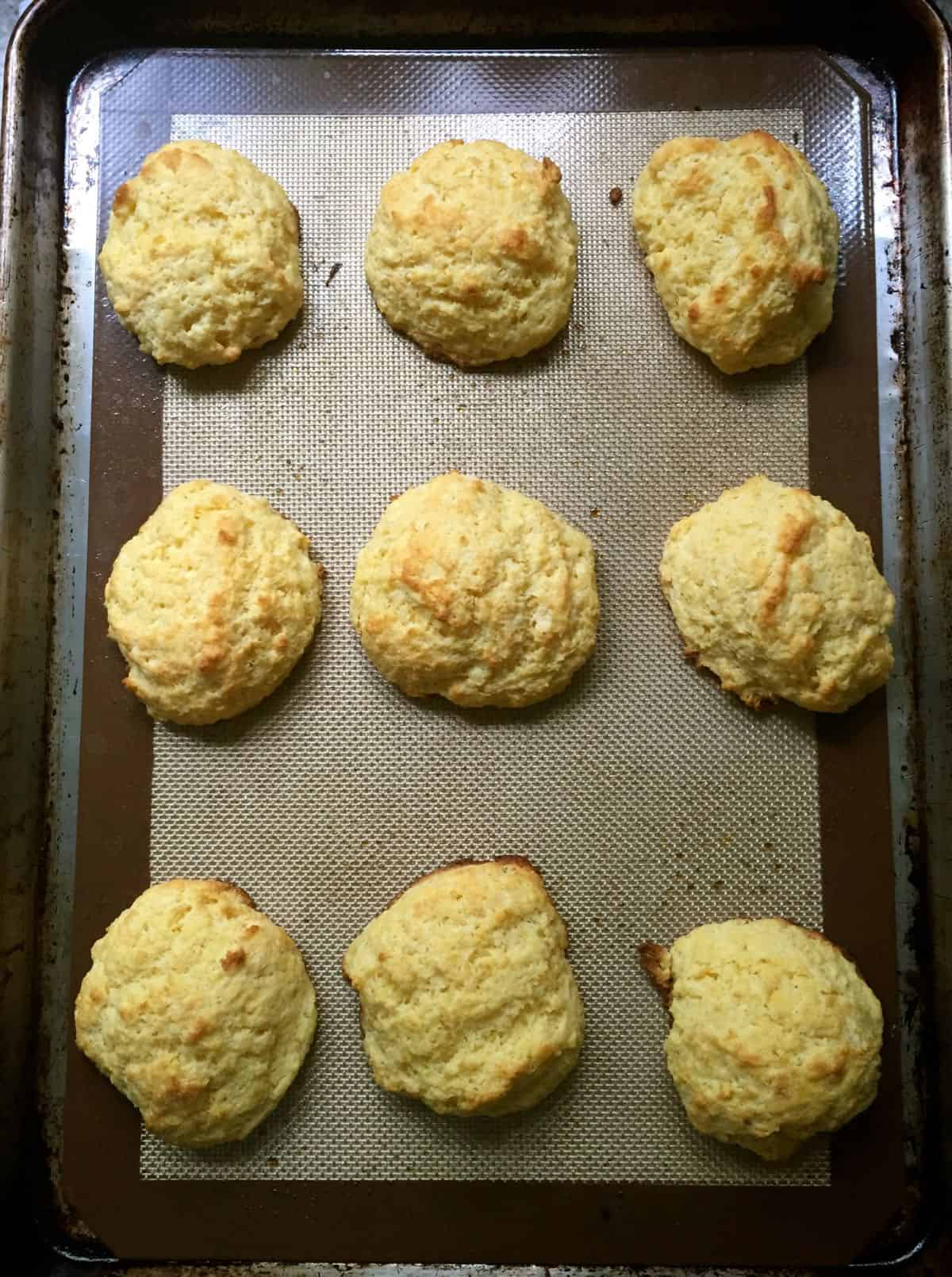 Baked cornmeal drop shortcake biscuits.