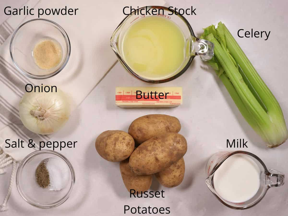 Ingredients for Irish Potato Soup including chicken stock and celery.