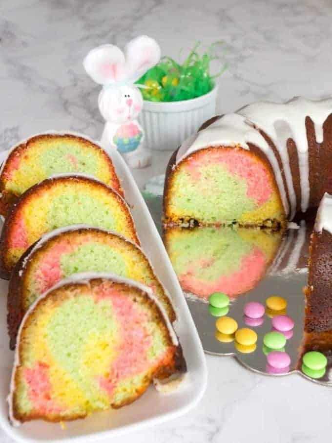 Slices of Easter surprise bundt cake.