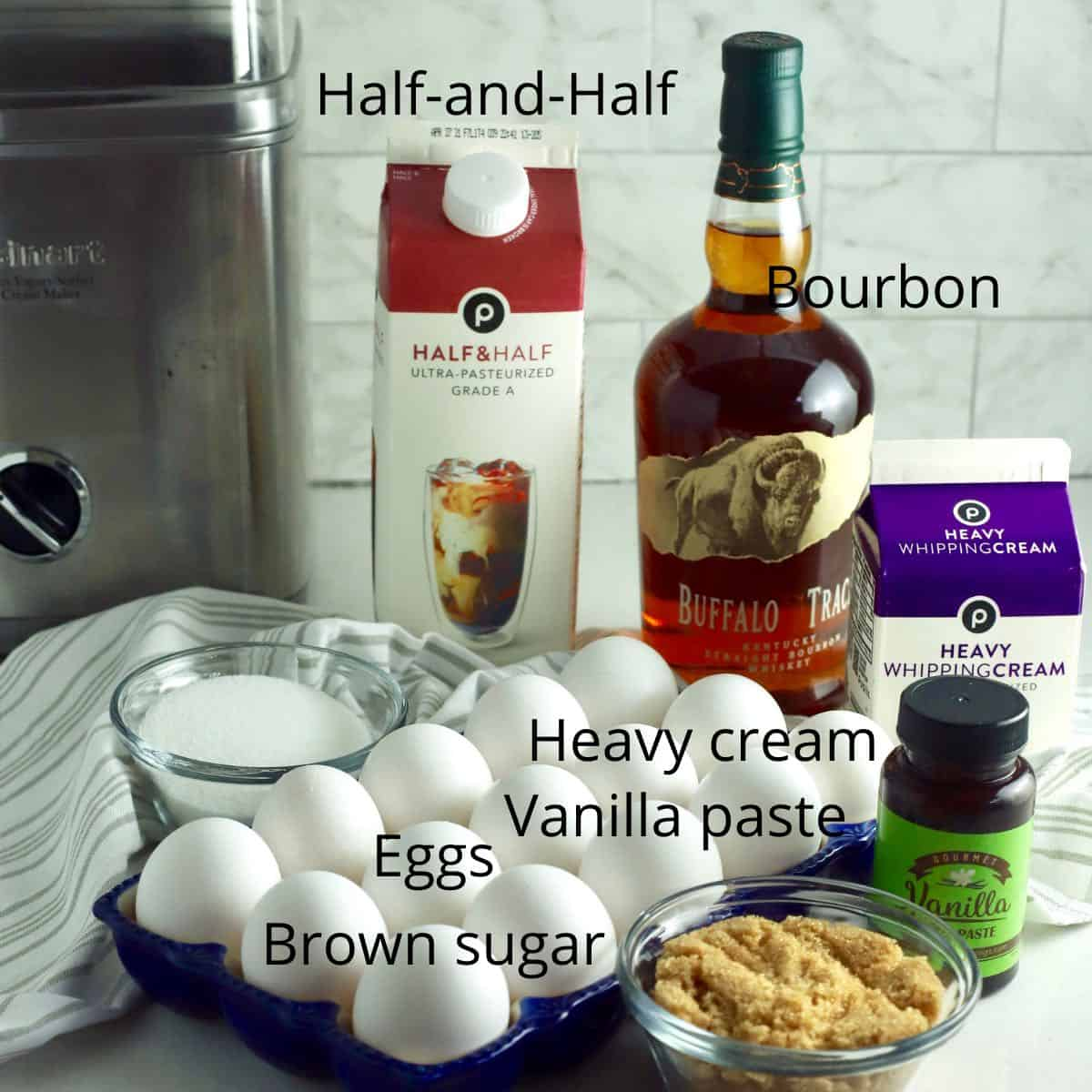 Ingredients for ice cream including eggs and heavy cream.