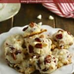 Pinterest pin showing a white plate full of cranberry cookies.