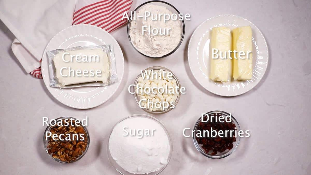 Ingredients for Cranberry Cookies including cream cheese and pecans.