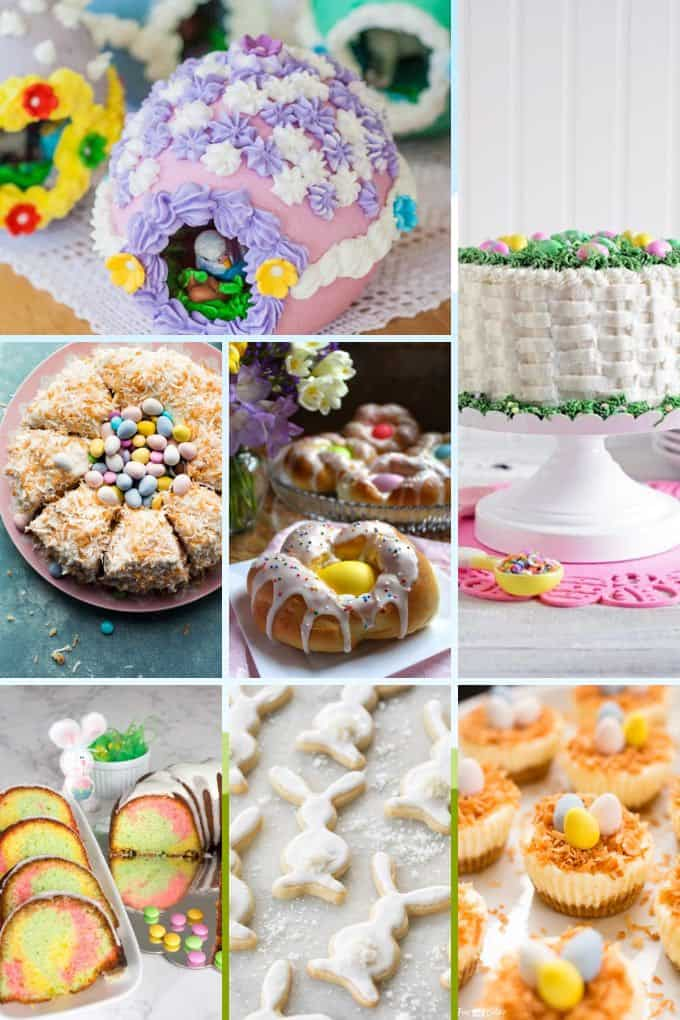 Collage of 7 Easter desserts including cakes and cookies.