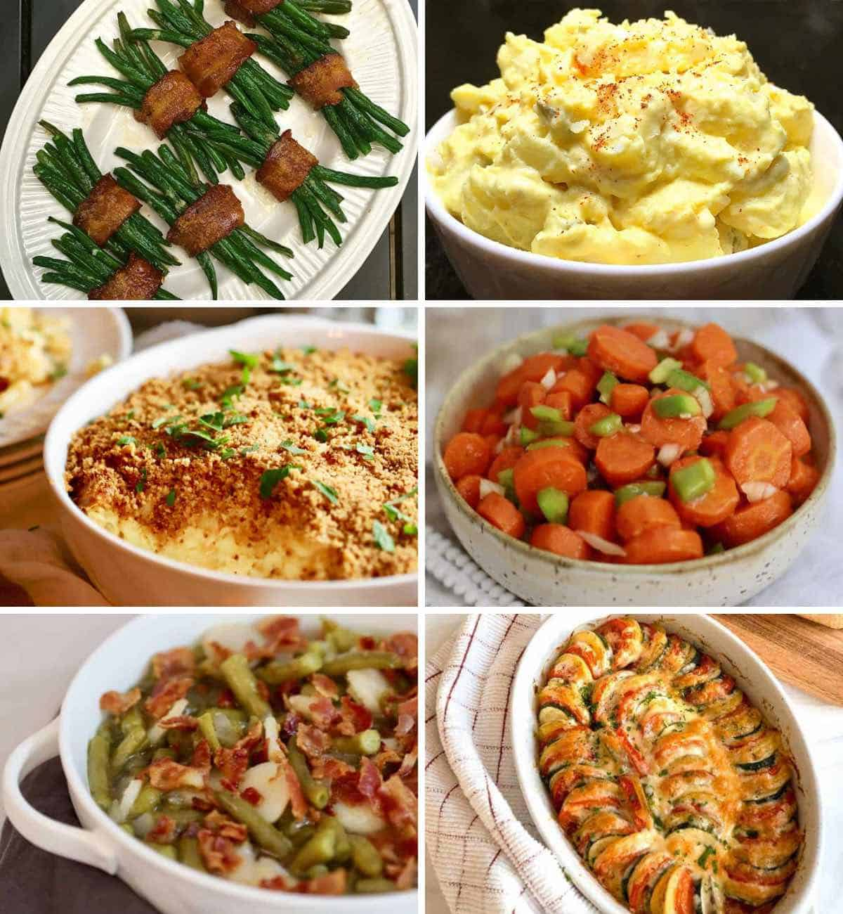 Six pictures of Easter side dishes including potato salad and green beans.