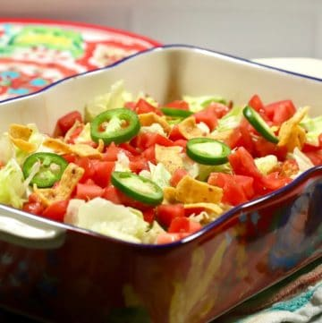 Walking Taco Casserole in a brightly colored baking dish.