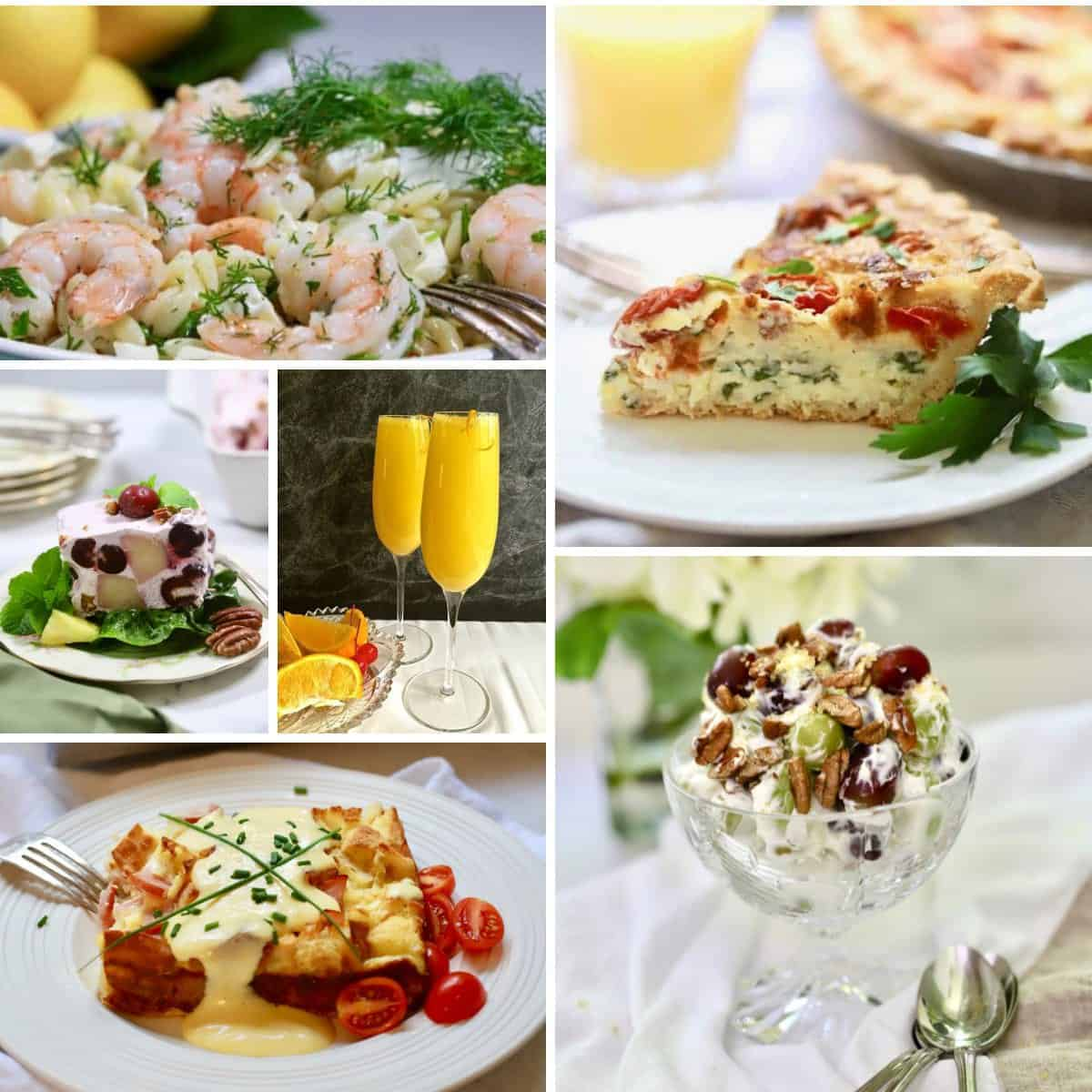 A collage of Mother's Day dishes including grape salad and quiche.