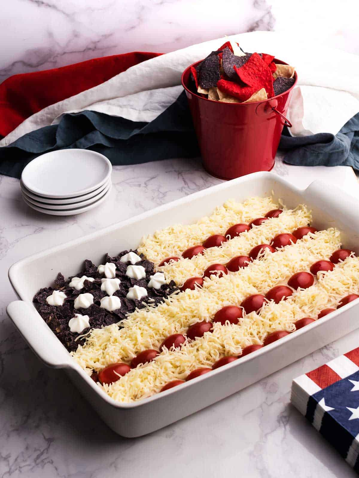 Red, White, and Blue seven layer flag dip.