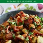 Pinterest pin showing Southern Fried Potatoes in a cast-iron skillet.