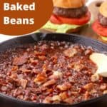 Pinterest pin showing baked beans in a skillett.