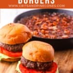 Pinterest pin with two burgers on a cutting board with a pan of baked beans.