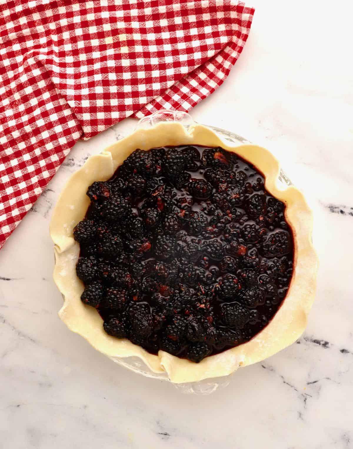 Blackberry pie filling in an unbaked crust.
