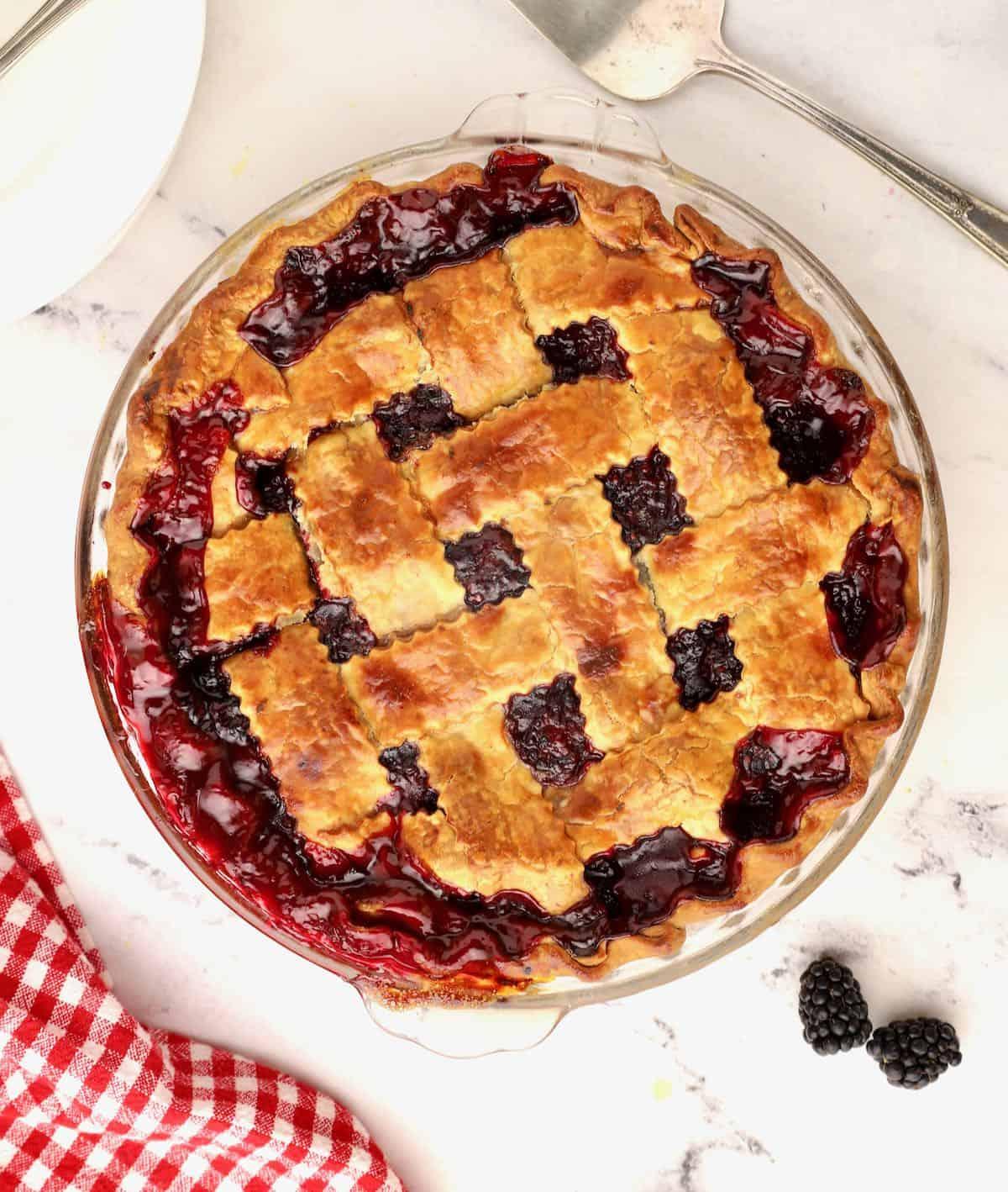 A baked blackberry pie.