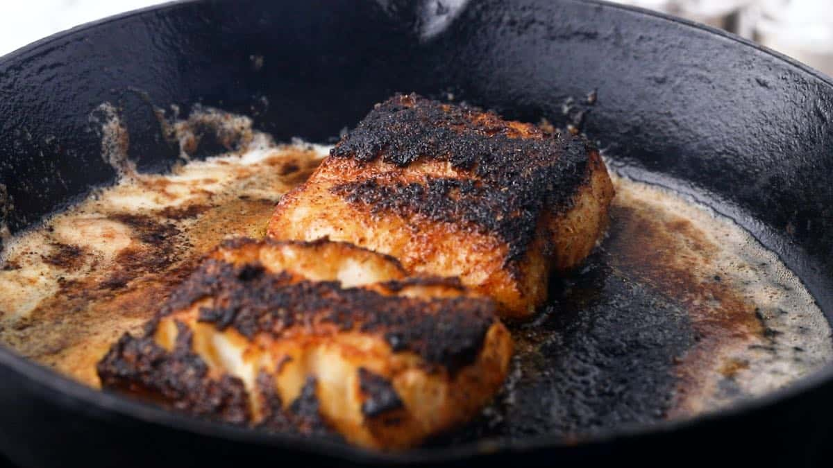 Two blackened fish fillets cooking in a cast iron skillet.