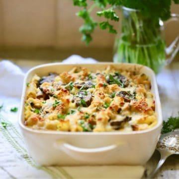 Chicken Marsala Pasta in a white baking dish.