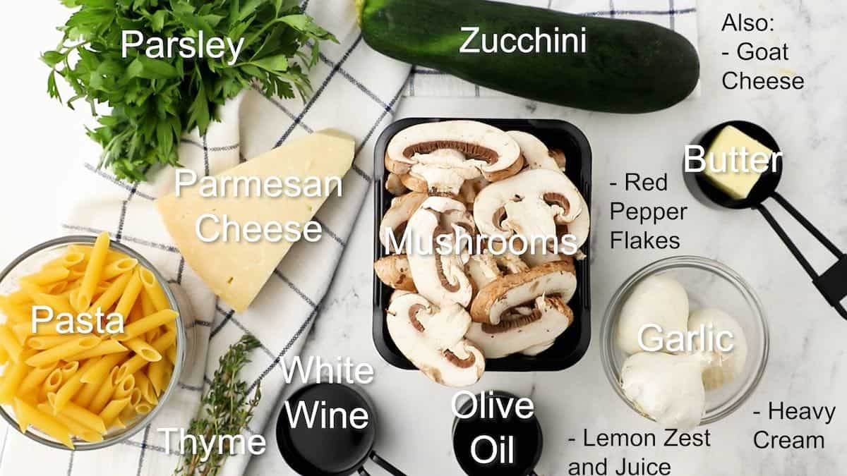 Ingredients for zucchini mushroom pasta.